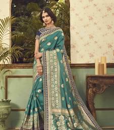 Buy Green printed silk saree with blouse silk-saree online