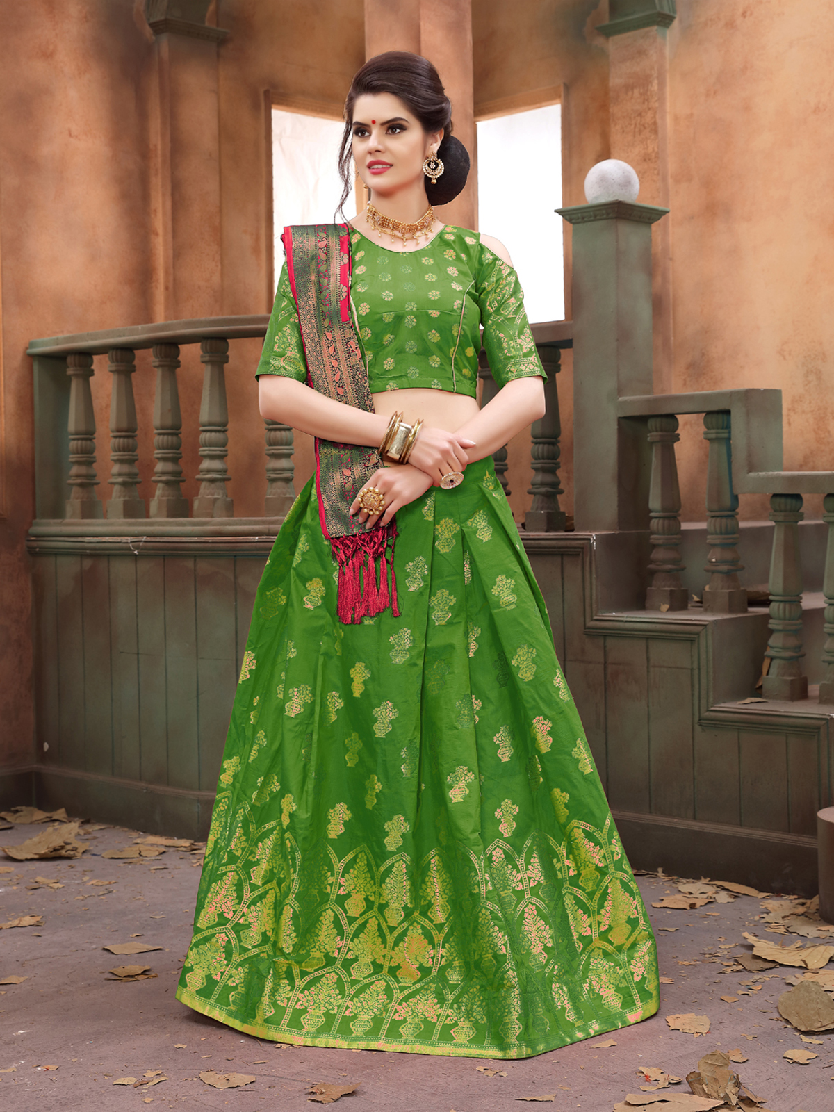 676a69bca07b8 Light-parrot-green woven art silk semi stitched lehenga with dupatta -  KMOZI - 2713803