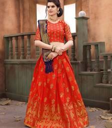 Buy Orange woven art silk semi stitched lehenga with dupatta lehenga-choli online