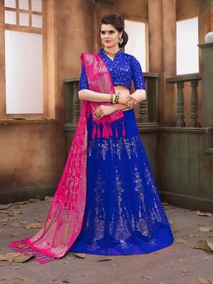 Blue woven art silk semi stitched lehenga with dupatta
