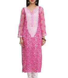 Onion Pink Embroidered Georgette Chikankari Kurti