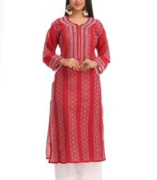 Maroon Embroidered Cotton Chikankari Kurti