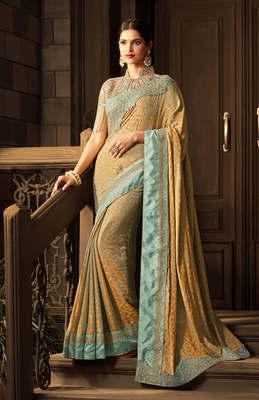 Multicolor embroidered art silk sarees saree with blouse