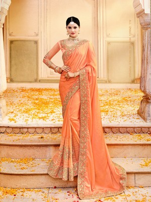 orange embroidered faux art silk saree with blouse