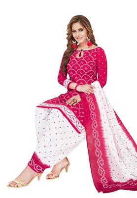 Pink And White Printed Synthetic Unstitched Salwar With Dupatta