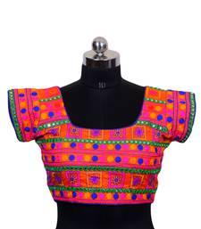Multicolour Embroidered Art silk stitched navratri blouse