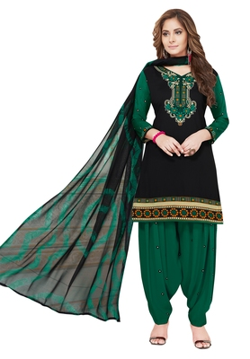 Black And Green Printed Synthetic Unstitched Salwar With Dupatta