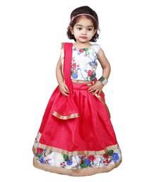 Pink Pure Jacquard And Banglory Silk Stitched Lehenga Choli Set For Girls