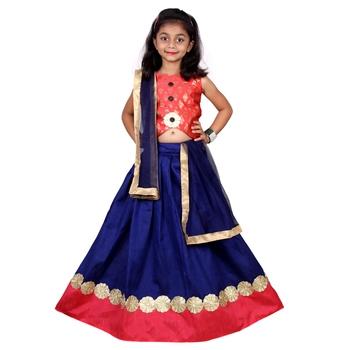Blue  Embroidered Stitched Lehenga Choli And Dupatta Set For Girls
