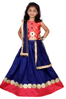 dc72538ded Blue Embroidered Stitched Lehenga Choli And Dupatta Set For Girls