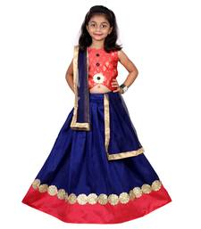 Blue  Embroidered Stitched Lehenga Choli And Dupatta Set For Girls
