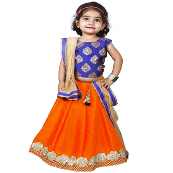 Orange Pure Jacquard And Banglory Silk Stitched Lehenga Choli Set For Girls
