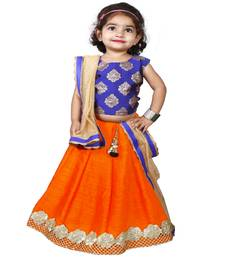 Orange Pure Jacquard And Banglory Silk Stitched Lehenga Choli Set For Girls