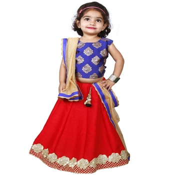 Red Pure Jacquard And Banglory Silk Stitched Lehenga Choli Set For Girls