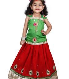 Red Self Design Stitched Lehenga Choli And Dupatta Set For Girls