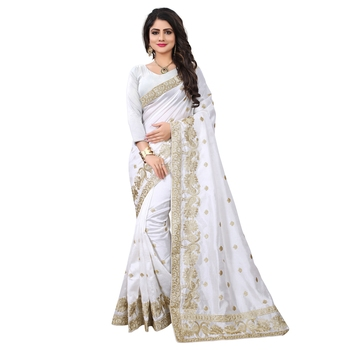 White embroidered art silk sarees saree with blouse