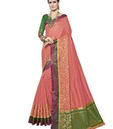 Buy Peach plain tussar silk saree with blouse tussar-silk-saree online