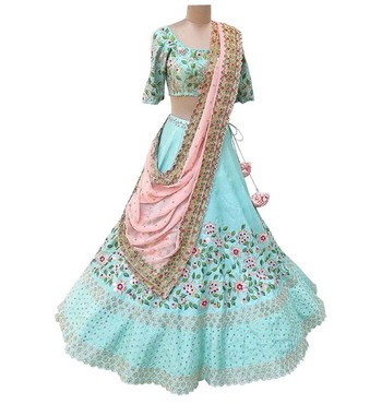 Light-blue embroidered dupion silk semi stitched lehenga with dupatta