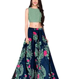 Buy Blue printed dupion silk semi stitched lehenga with dupatta floral-lehenga online