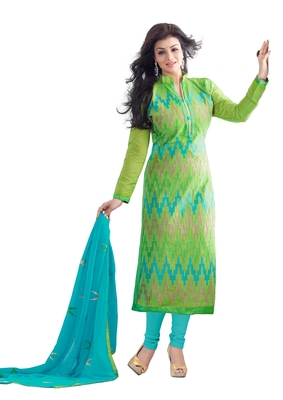 DnVeens Women Green embroidered chanderi salwar Kameez Unstitched suit dress material
