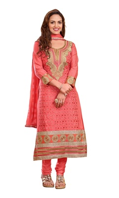 DnVeens Peach embroidered party wear cotton embroidery unstiched salwar with dupatta