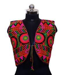 Multicolour Embroidered Art silk stitched Koti