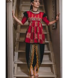 Buy Red khadi dori embroidery kedia with tulip pant women-ethnic-wear online