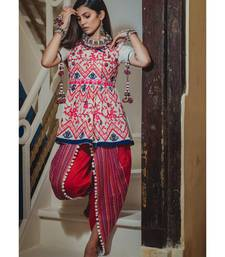 Buy White and red khadi dori embroidery kedia with tulip pant ethnic-kurtis online