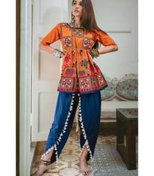 Buy Orange khadi dori embroidery kedia with tulip pant ethnic-kurtis online