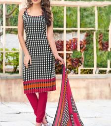Black Geometric Print Crepe Unstitched Salwar With Dupatta