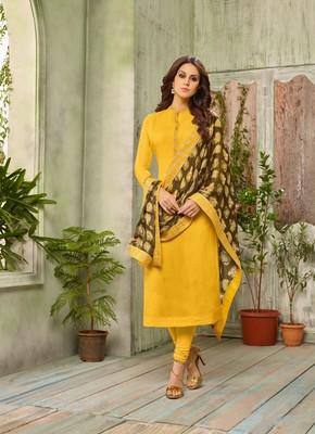 Yellow Digital Print Cotton Silk Unstitched Salwar With Dupatta