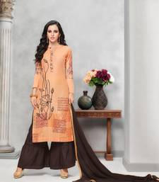 Buy Peach Embroidered Cotton Unstitched Salwar With Dupatta dress-material online
