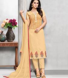 Buy Cream Embroidered Cotton Unstitched Salwar With Dupatta dress-material online
