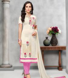 Buy White Embroidered Cotton Unstitched Salwar With Dupatta dress-material online