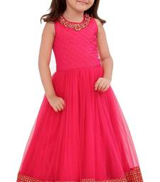 Pink Sequance Embroidery Lace Work Banglori Silk With Net Full Flair Readymade Partywear Goen Dress Fro Girls