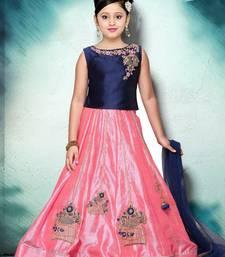 Buy Pretty Pink And Blue Multi Style Emboridery On Heavy Muslin Silk Festival Lehenga Choli For Girls Kids Wear indian-dress online