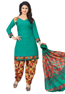 e4774be1a9 Green And Orange Printed Synthetic Unstitched Salwar Kameez With Dupatta -  muhenera s - 2716210