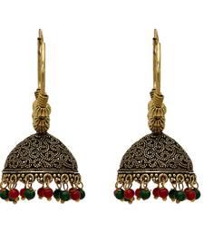 Maroon And Green Color Oxidised Jhumka Earrings