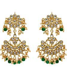 Green Color Imitation And Kundan Earrings