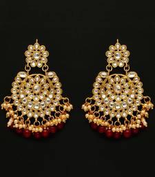 Maroon Color Festive Special Kundan Earrings