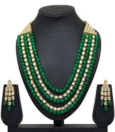 Green Color Imitation Pearl Kundan Necklace With Earring