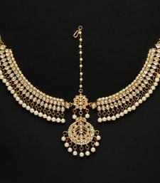 Buy White Color Kundan Work Matha Patti women-ethnic-wear online