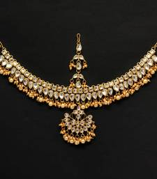 Buy Gold Color Kundan Work Matha Patti hair-accessory online