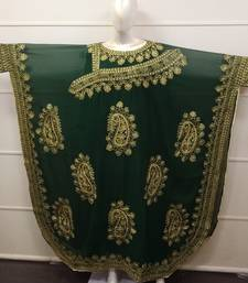 Dark Green Embroidered Georgette Islamic Farasha