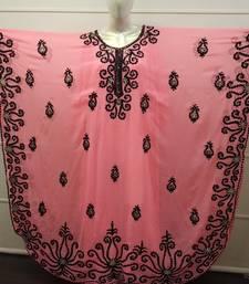 Peach Embroidered Georgette Islamic Farasha