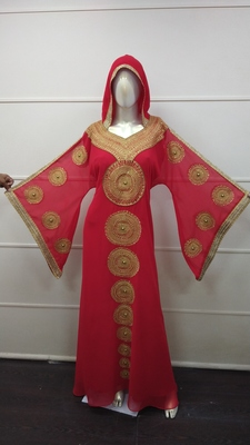 Red Embroidered Georgette Islamic Islamic-Kaftans