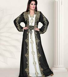 Black And White Embroidered Georgette Islamic Islamic-Kaftans
