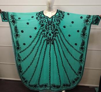 Sea Green Embroidered Georgette Islamic Farasha