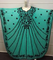 Sea Green Embroidered Georgette Islamic Farasha