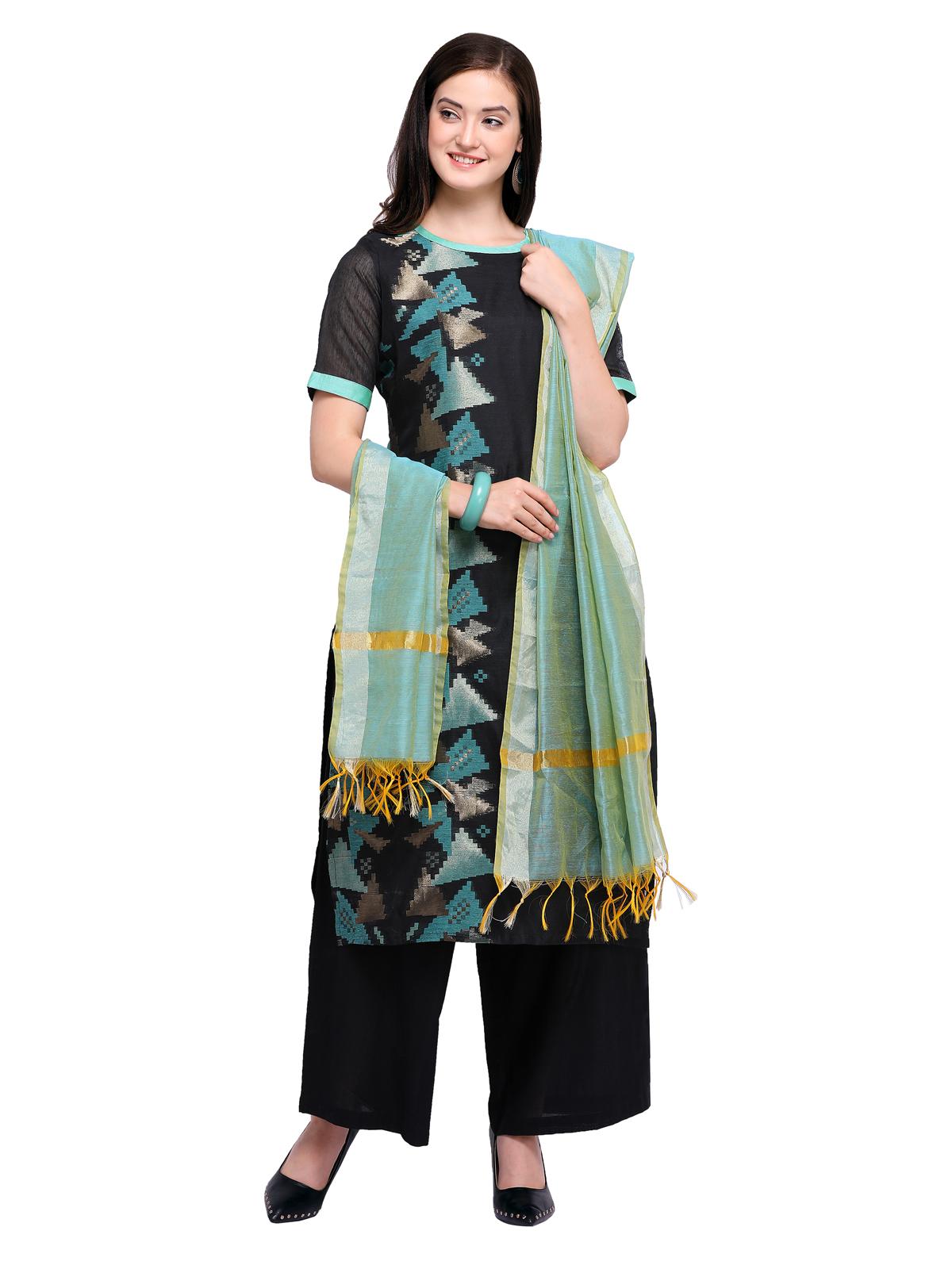 5040ce345a Inddus Black Chanderi Cotton Woven Unstitched Dress Material With Dupatta -  Inddus - 2716541